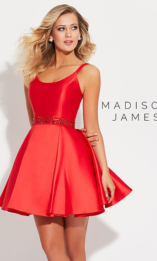 Image of Madison James short prom dress with beaded waist. Style: NM-17-508 Detail Image 1