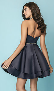 Image of floral-print short strapless prom dress with pockets. Style: HS-27154 Back Image