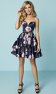 Image of floral-print short strapless prom dress with pockets. Style: HS-27154 Detail Image 3