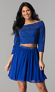 Image of two-piece Hannah S short prom dress with 3/4 sleeves. Style: HS-27163 Front Image