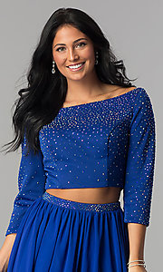 Image of two-piece Hannah S short prom dress with 3/4 sleeves. Style: HS-27163 Detail Image 1