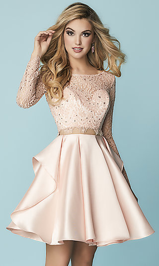 Short Mock Two-Piece Homecoming Dress with Lace Sleeves
