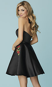 Image of short strapless homecoming dress with embroidery. Style: HS-27178 Back Image