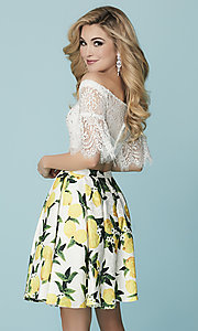 Image of short print-skirt two-piece homecoming dress. Style: HS-27188 Back Image