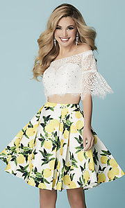 Image of short print-skirt two-piece homecoming dress. Style: HS-27188 Front Image