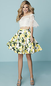 Image of short print-skirt two-piece homecoming dress. Style: HS-27188 Detail Image 2