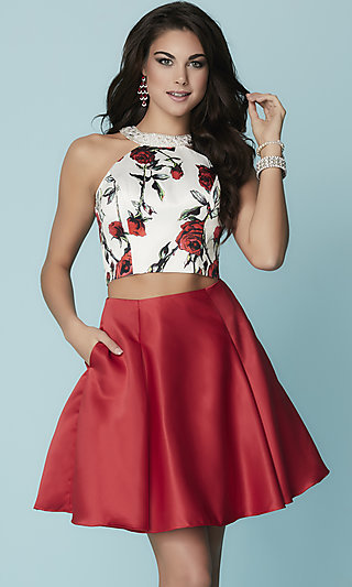 Two-Piece Hannah S Homecoming Dress with Pleated Skirt and Open Back