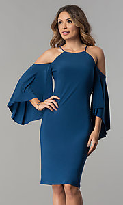 Image of short cold-shoulder party dress with bell sleeves.  Style: MO-2073 Front Image