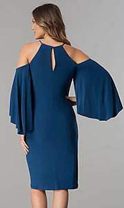 Image of short cold-shoulder party dress with bell sleeves.  Style: MO-2073 Back Image