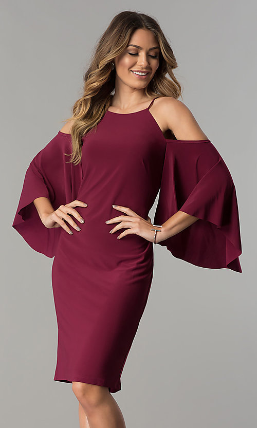 Image of short cold-shoulder party dress with bell sleeves.  Style: MO-2073 Detail Image 2