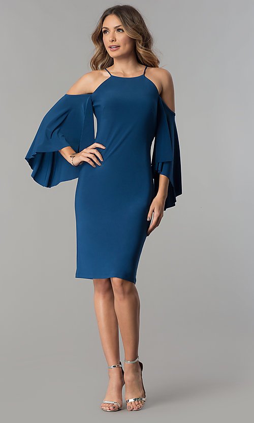 Image of short cold-shoulder party dress with bell sleeves.  Style: MO-2073 Detail Image 1