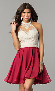 Image of short chiffon homecoming dress with lace halter. Style: NC-104 Front Image