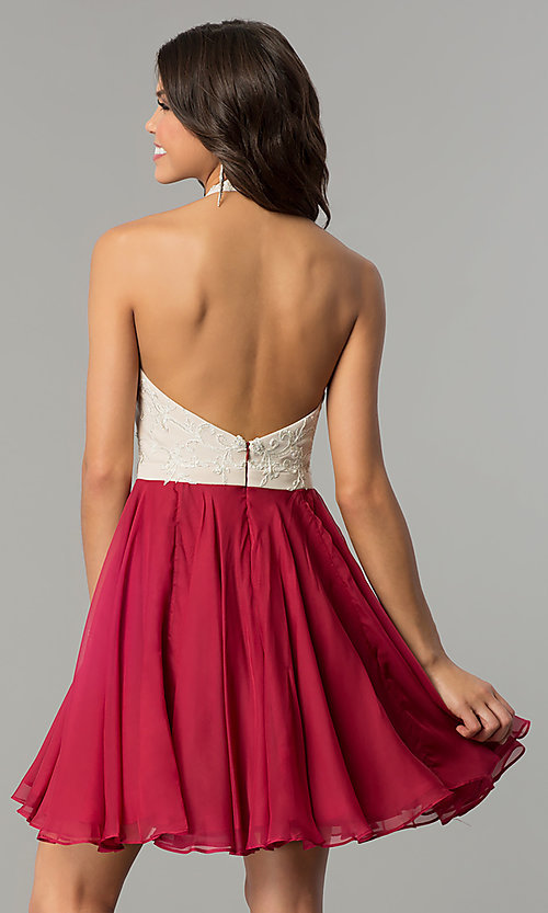 Image of short chiffon homecoming dress with lace halter. Style: NC-104 Back Image