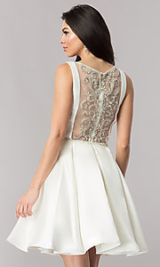 Image of embellished-sheer-back short satin party dress. Style: NC-118 Back Image