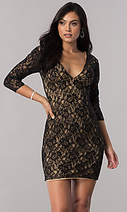 Image of short open-back sheer-lace homecoming dress. Style: NC-128 Front Image