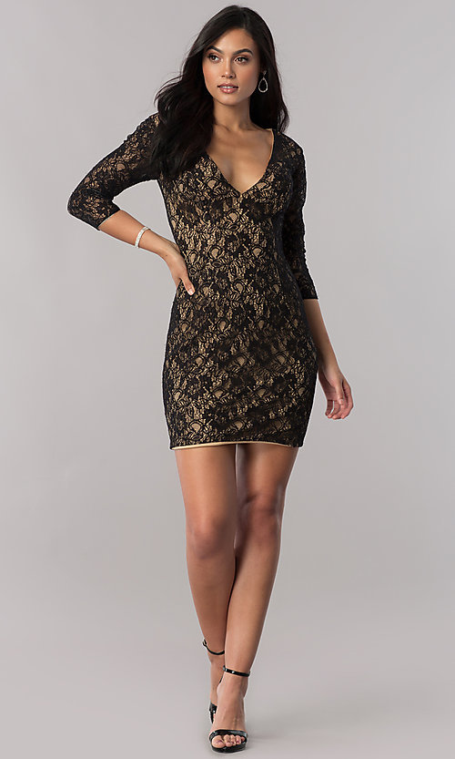 Image of short open-back sheer-lace homecoming dress. Style: NC-128 Detail Image 1