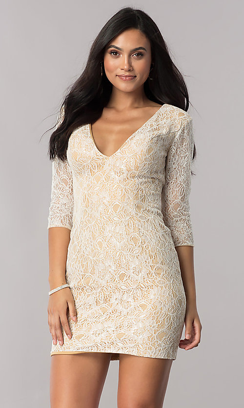 Image of short open-back sheer-lace homecoming dress. Style: NC-128 Detail Image 2