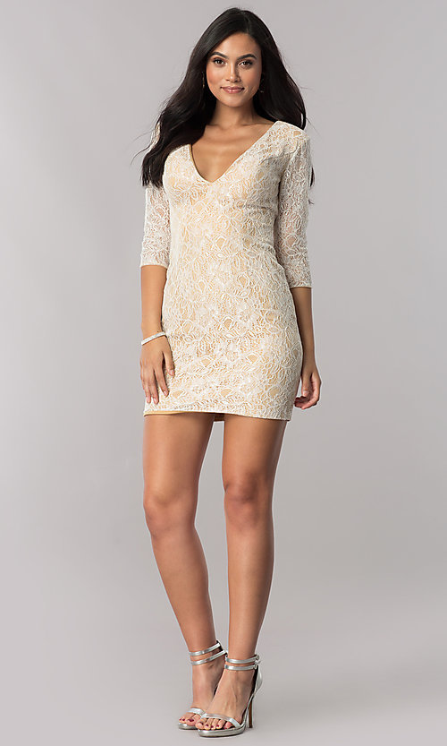 Image of short open-back sheer-lace homecoming dress. Style: NC-128 Detail Image 3