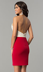 Image of open-back lace-halter short homecoming dress.  Style: NC-132 Back Image