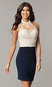 Image of open-back lace-halter short homecoming dress.  Style: NC-132 Front Image