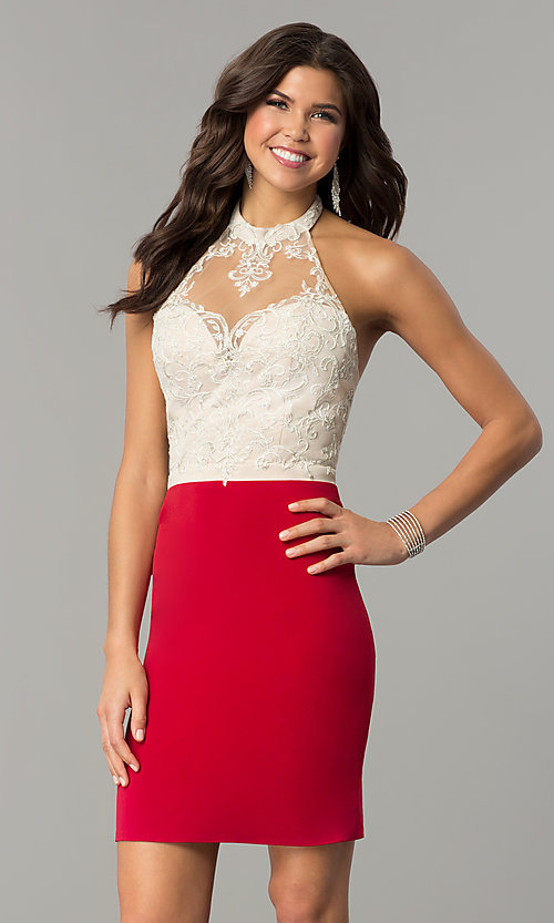Image of open-back lace-halter short homecoming dress.  Style: NC-132 Detail Image 1