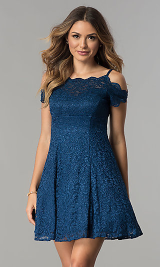 A-Line Scalloped Glitter-Lace Short Party Dress