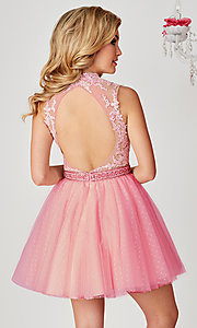 Image of Hannah S ice pink short beaded-bodice hoco dress. Style: HS-27095 Back Image