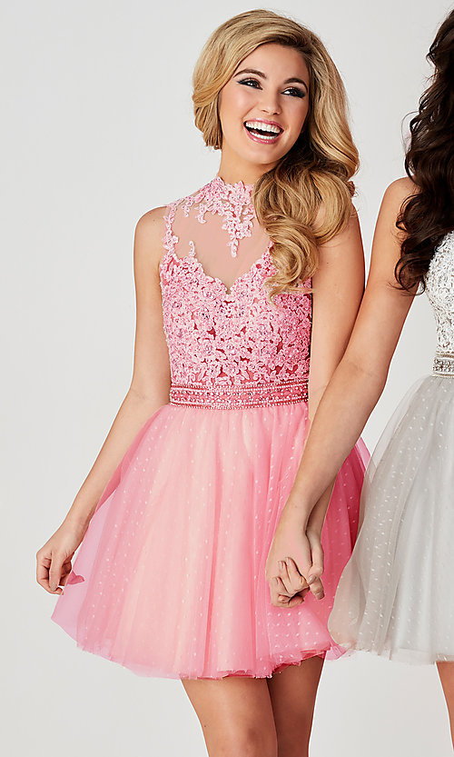 Image of Hannah S ice pink short beaded-bodice hoco dress. Style: HS-27095 Front Image