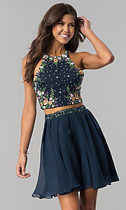 Image of two-piece short embroidered chiffon homecoming dress. Style: HS-27111 Detail Image 2