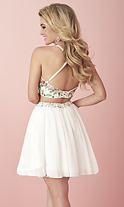 Image of two-piece short embroidered chiffon homecoming dress. Style: HS-27111 Back Image
