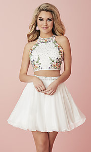 Image of two-piece short embroidered chiffon homecoming dress. Style: HS-27111 Front Image