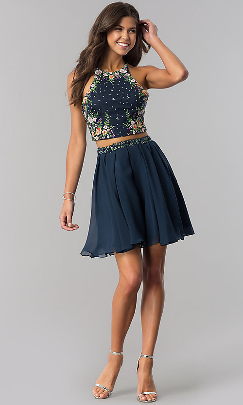 Image of two-piece short embroidered chiffon homecoming dress. Style: HS-27111 Detail Image 3
