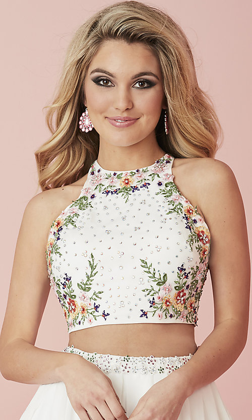 Image of two-piece short embroidered chiffon homecoming dress. Style: HS-27111 Detail Image 1