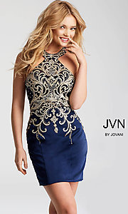 Image of JVN by Jovani short homecoming dress with beading. Style: JO-JVN-JVN53193 Front Image