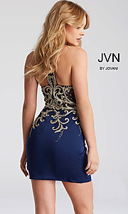 Image of JVN by Jovani short homecoming dress with beading. Style: JO-JVN-JVN53193 Back Image
