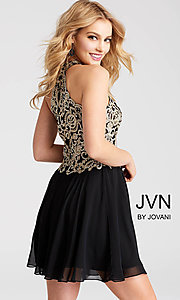 Image of short JVN by Jovani beaded-bodice homecoming dress.  Style: JO-JVN-JVN53177 Back Image