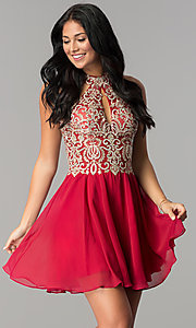 Image of short JVN by Jovani beaded-bodice homecoming dress.  Style: JO-JVN-JVN53177 Front Image