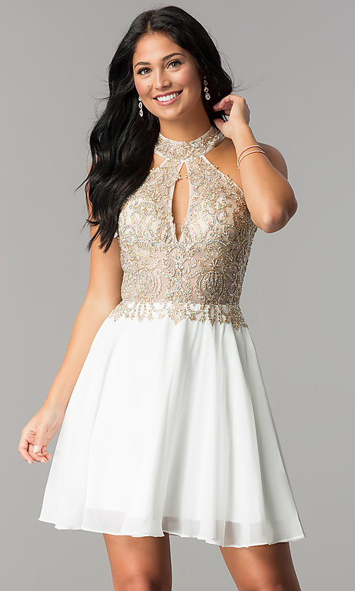 Image of short JVN by Jovani beaded-bodice homecoming dress.  Style: JO-JVN-JVN53177 Detail Image 2