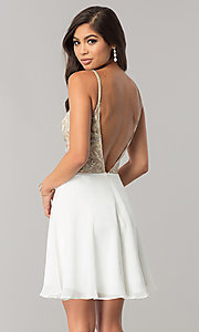 Image of beaded-bodice short homecoming dress with open back. Style: JO-JVN-JVN53178 Back Image