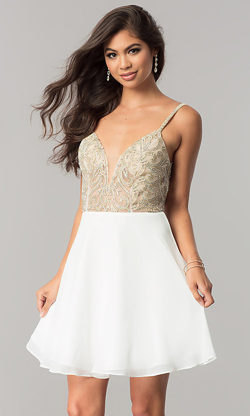 Image of beaded-bodice short homecoming dress with open back. Style: JO-JVN-JVN53178 Front Image
