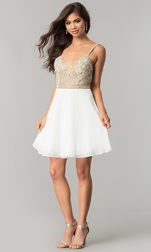 Image of beaded-bodice short homecoming dress with open back. Style: JO-JVN-JVN53178 Detail Image 1