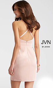 Image of JVN by Jovani open-back short wedding-guest dress. Style: JO-JVN-JVN57292 Back Image