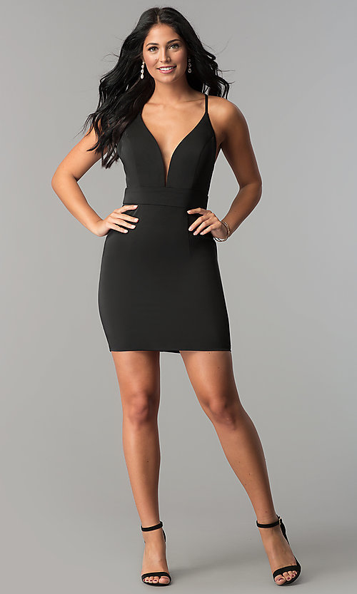 Image of JVN by Jovani open-back short wedding-guest dress. Style: JO-JVN-JVN57292 Detail Image 3