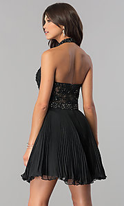 Image of short pleated homecoming dress with beaded halter.  Style: JO-JVN-JVN53030 Back Image