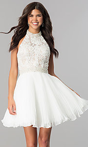 Image of short pleated homecoming dress with beaded halter.  Style: JO-JVN-JVN53030 Front Image