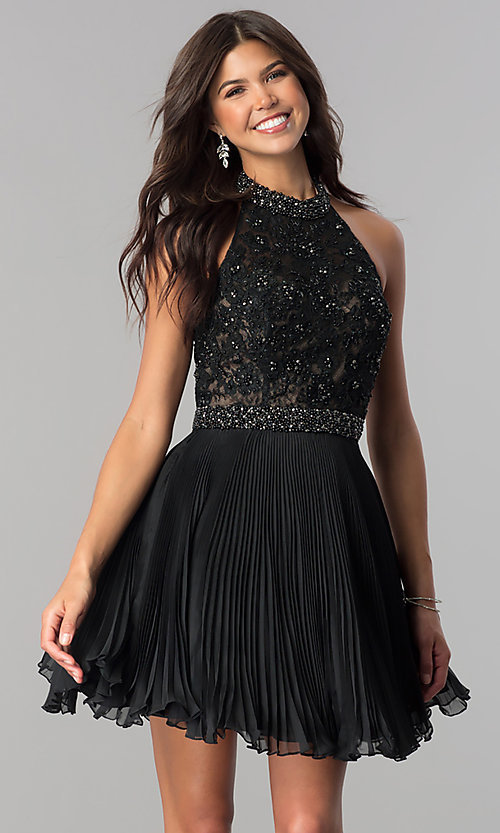 Image of short pleated homecoming dress with beaded halter.  Style: JO-JVN-JVN53030 Detail Image 1