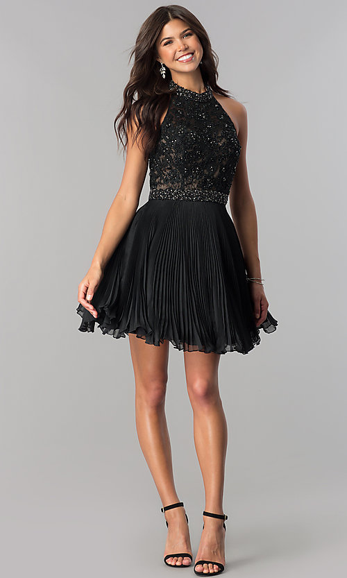 Image of short pleated homecoming dress with beaded halter.  Style: JO-JVN-JVN53030 Detail Image 2