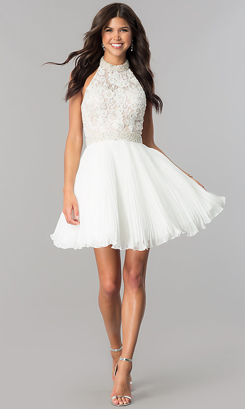 Image of short pleated homecoming dress with beaded halter.  Style: JO-JVN-JVN53030 Detail Image 3