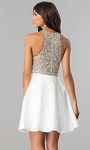 Image of sequin-bodice short homecoming dress with pockets.  Style: JO-JVN-JVN57782 Back Image