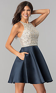Image of sequin-bodice short homecoming dress with pockets.  Style: JO-JVN-JVN57782 Front Image